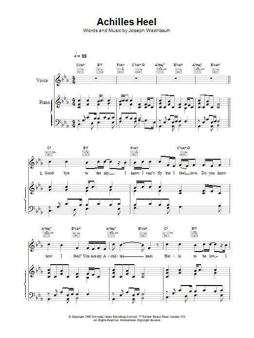 Toploader Achilles Heel sheet music notes printable PDF score
