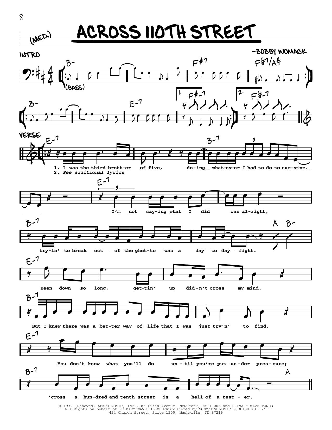 Bobby Womack Across 110th Street sheet music notes printable PDF score