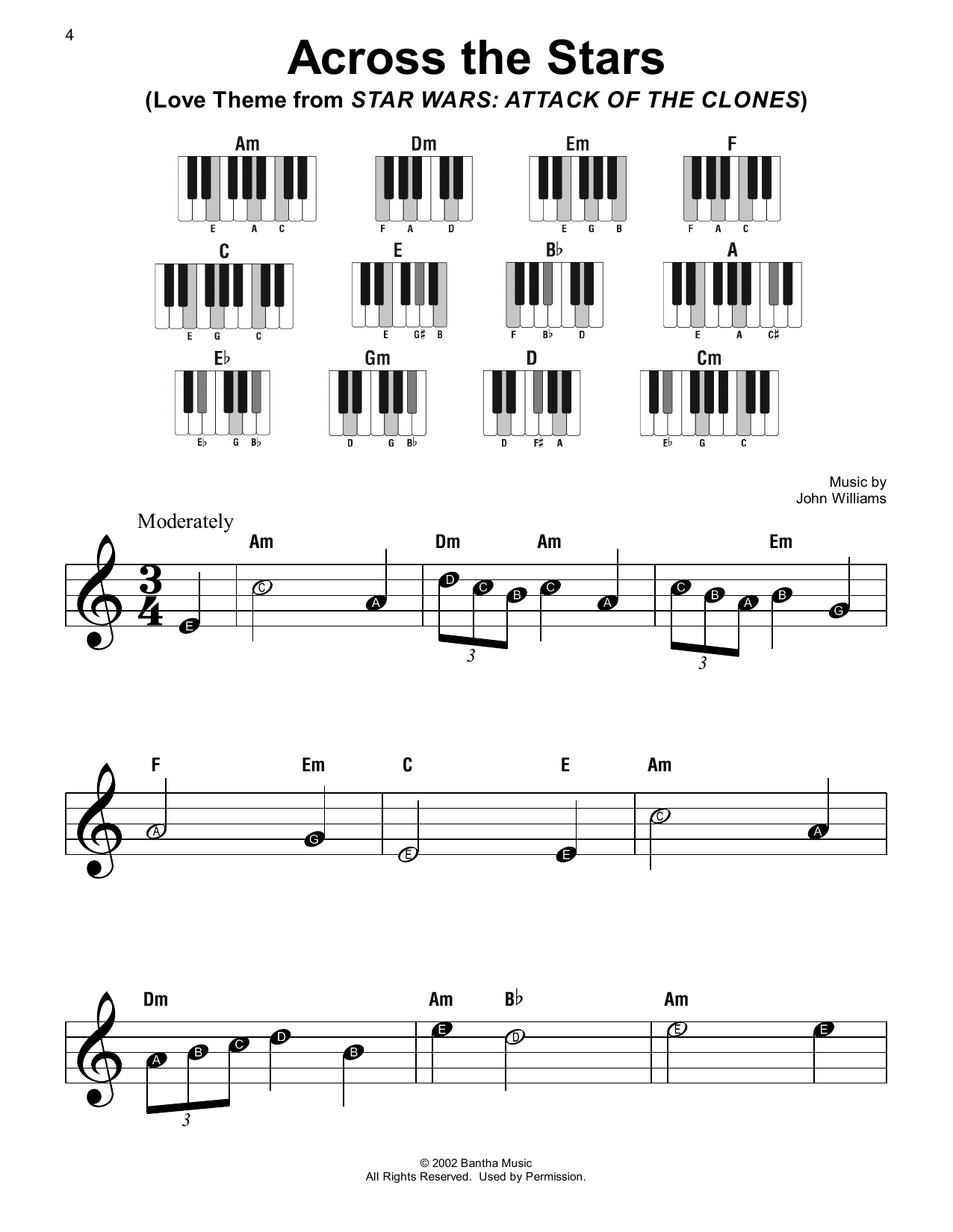 John Williams Across The Stars (Love Theme from Star Wars: Attack Of The Clones) sheet music notes printable PDF score