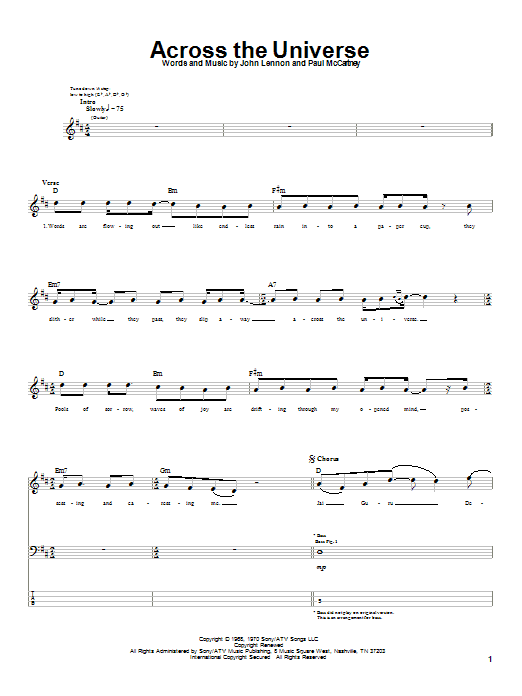 The Beatles Across The Universe sheet music notes printable PDF score