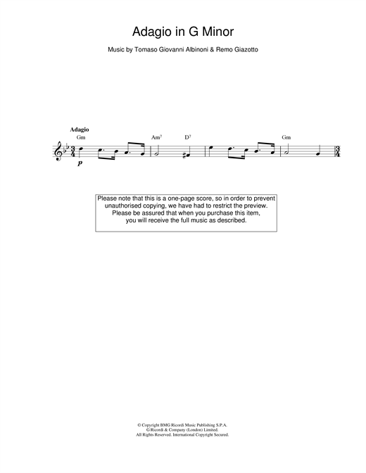 Tomaso Albinoni Adagio in G Minor sheet music notes printable PDF score