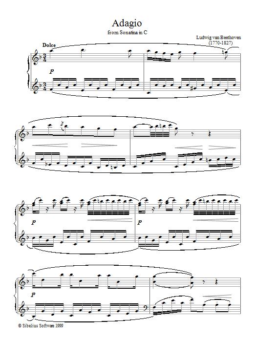 Ludwig van Beethoven Adagio Sonatina In C sheet music notes printable PDF score