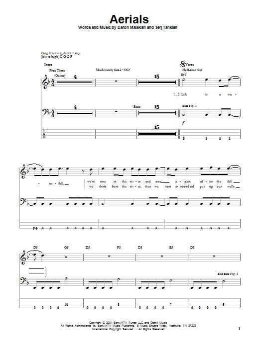 System Of A Down Aerials sheet music notes printable PDF score