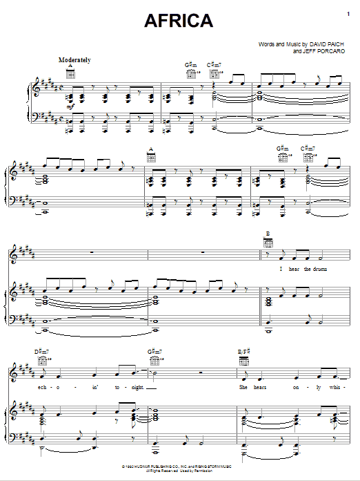 Toto Africa sheet music notes printable PDF score