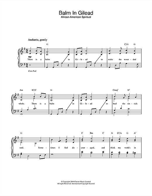 African-American Spiritual Balm In Gilead sheet music notes and chords. Download Printable PDF.
