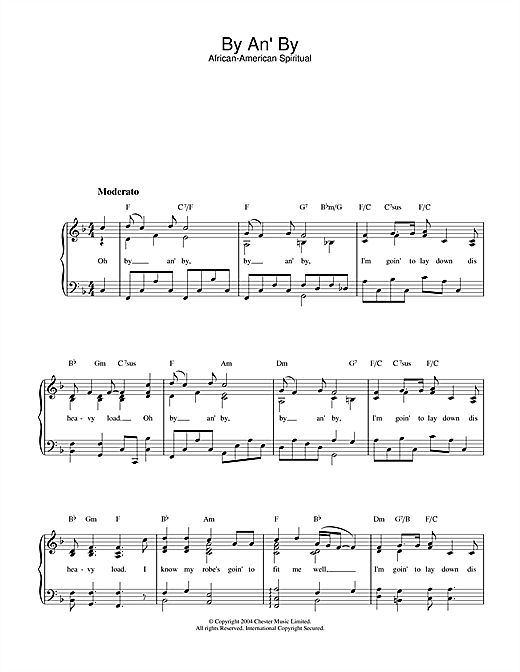 African-American Spiritual By An' By sheet music notes and chords. Download Printable PDF.