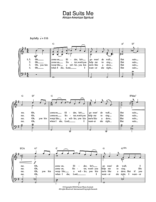 African-American Spiritual Dat Suits Me sheet music notes and chords. Download Printable PDF.