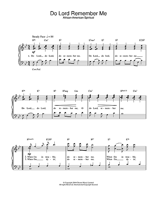 African-American Spiritual Do Lord Remember Me sheet music notes and chords. Download Printable PDF.