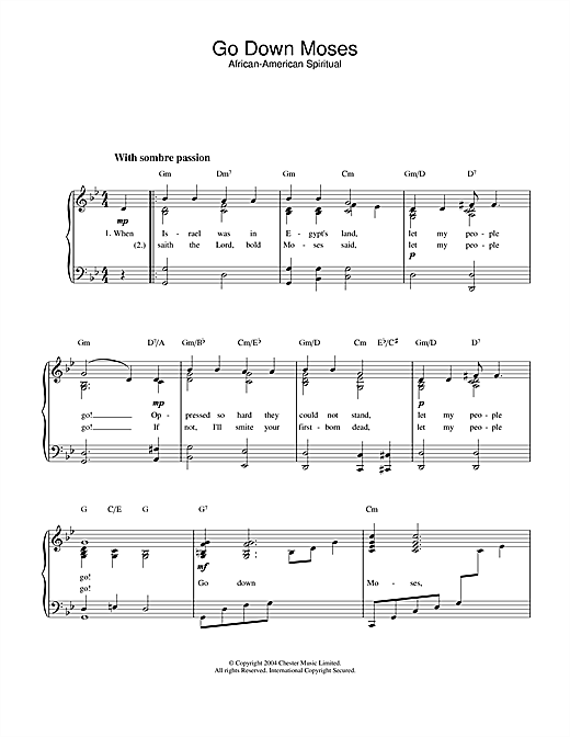 African-American Spiritual Go Down Moses sheet music notes and chords. Download Printable PDF.