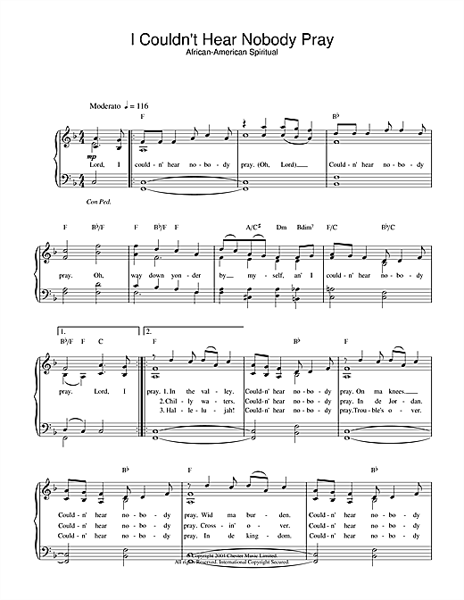 African-American Spiritual I Couldn't Hear Nobody Pray sheet music notes and chords. Download Printable PDF.