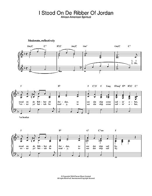 African-American Spiritual I Stood On De Ribber Of Jordan sheet music notes and chords. Download Printable PDF.