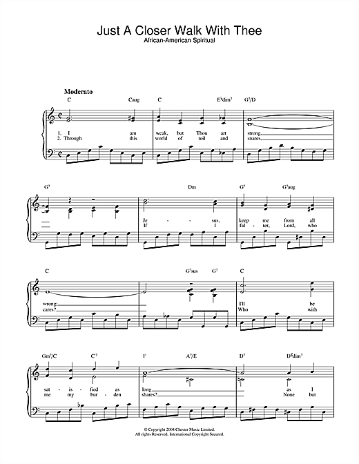 African-American Spiritual Just A Closer Walk With Thee sheet music notes and chords. Download Printable PDF.