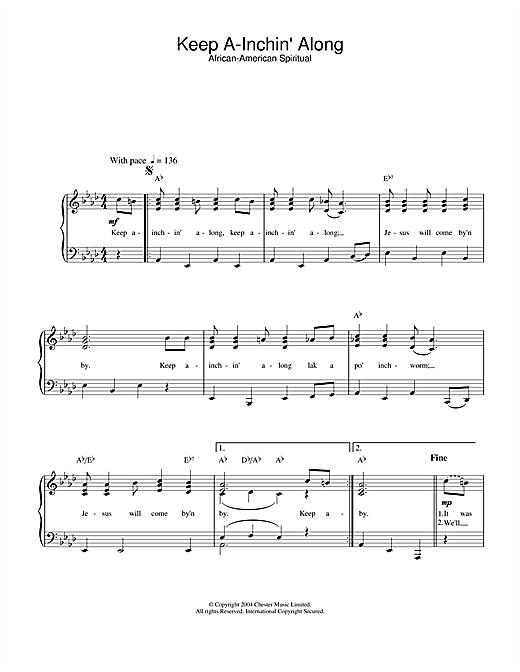 African-American Spiritual Keep A-Inchin' Along sheet music notes and chords. Download Printable PDF.