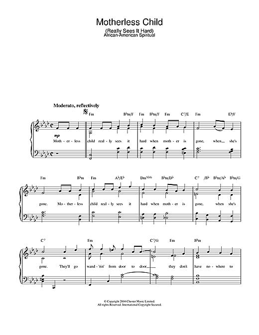 African-American Spiritual Motherless Child sheet music notes and chords. Download Printable PDF.
