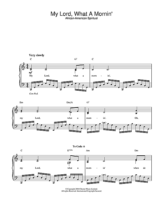 African-American Spiritual My Lord, What A Mornin' sheet music notes and chords. Download Printable PDF.
