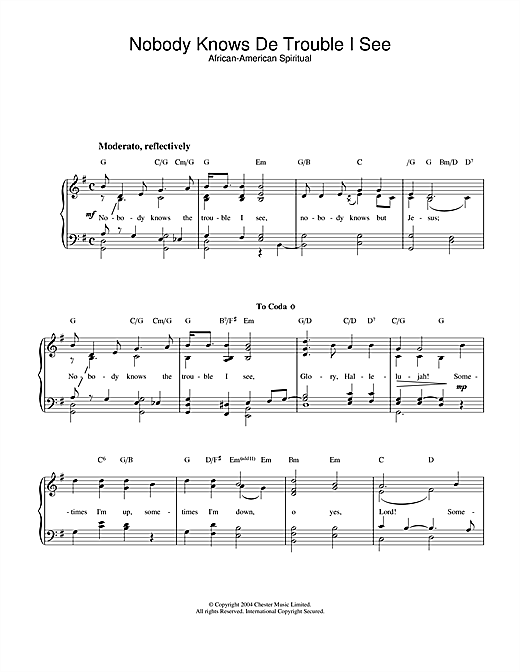 African-American Spiritual Nobody Knows De Trouble I See sheet music notes and chords. Download Printable PDF.