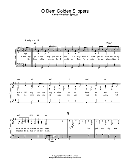 African-American Spiritual O Dem Golden Slippers sheet music notes and chords. Download Printable PDF.