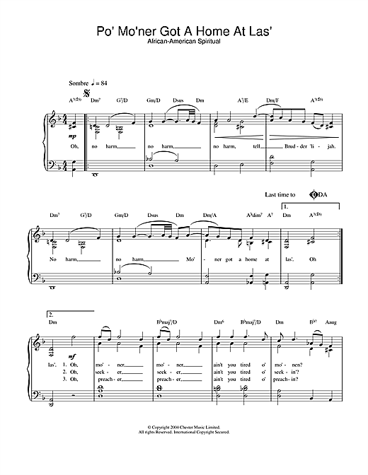 African-American Spiritual Po' Mo'ner Got A Home At Las' sheet music notes and chords. Download Printable PDF.
