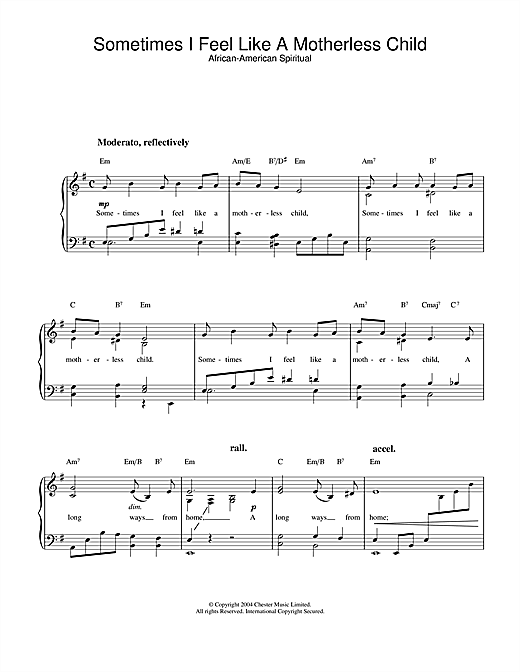 African-American Spiritual Sometimes I Feel Like A Motherless Child sheet music notes and chords. Download Printable PDF.