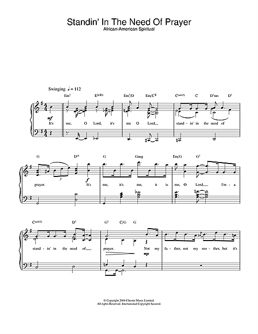 African-American Spiritual Standin' In The Need Of Prayer sheet music notes and chords. Download Printable PDF.