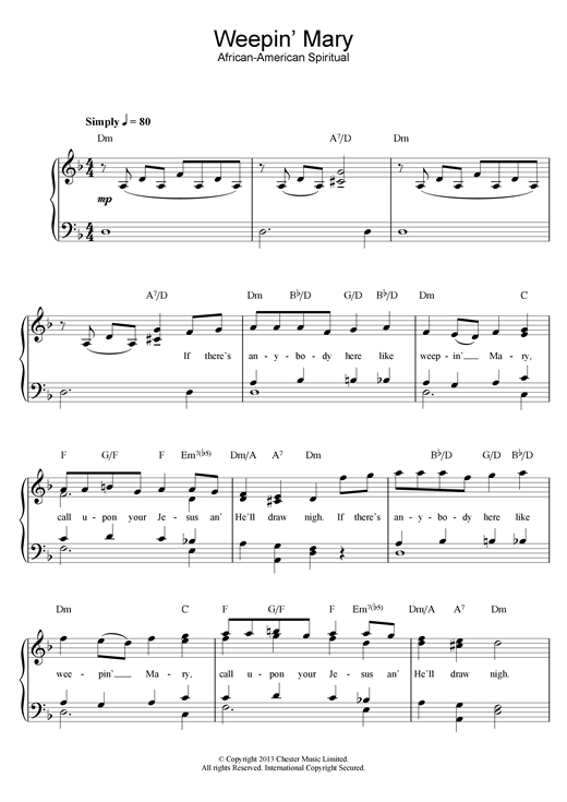 African-American Spiritual Weepin' Mary sheet music notes and chords. Download Printable PDF.