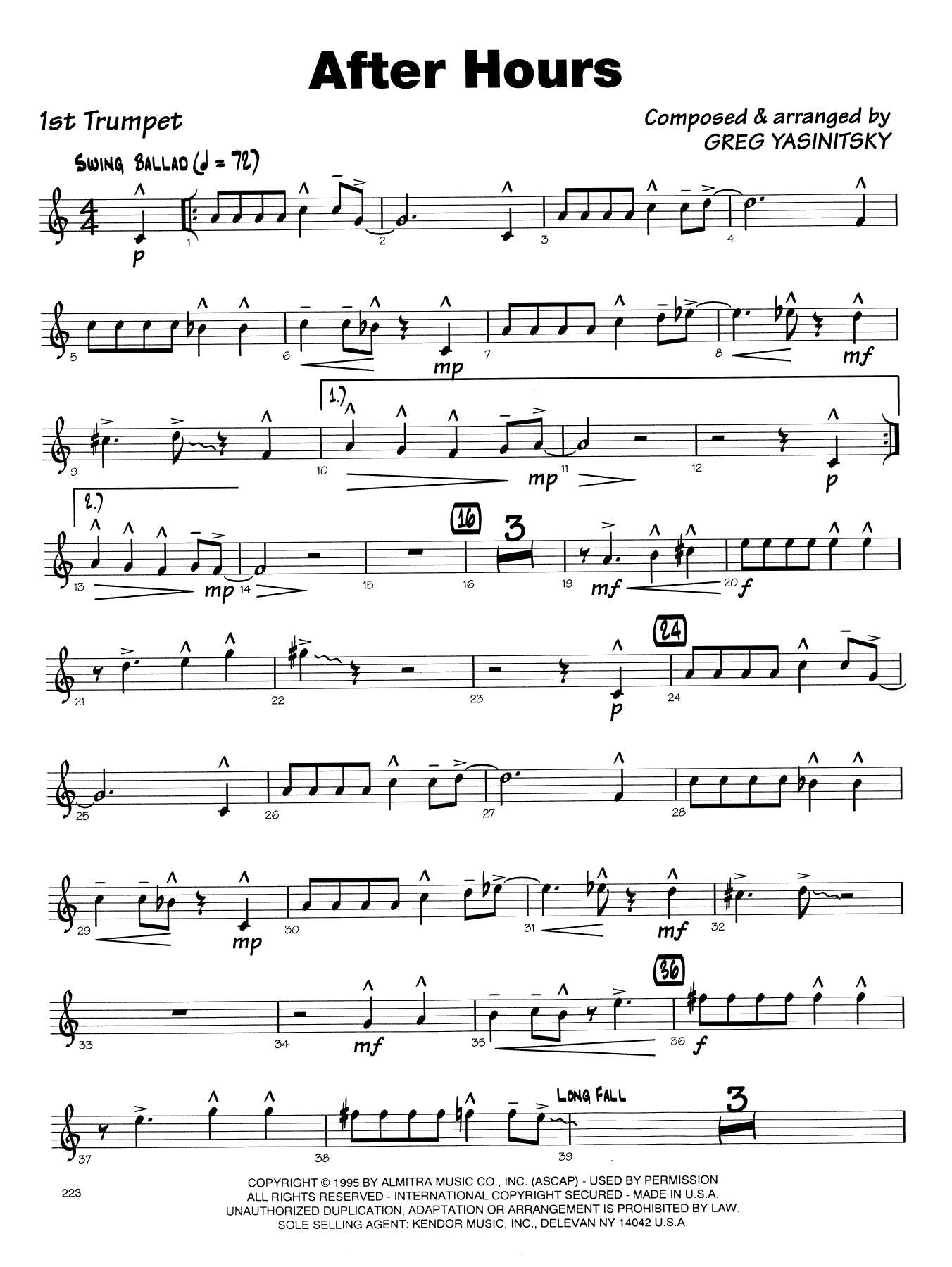 Gregory Yasinitsky After Hours - 1st Bb Trumpet sheet music notes printable PDF score