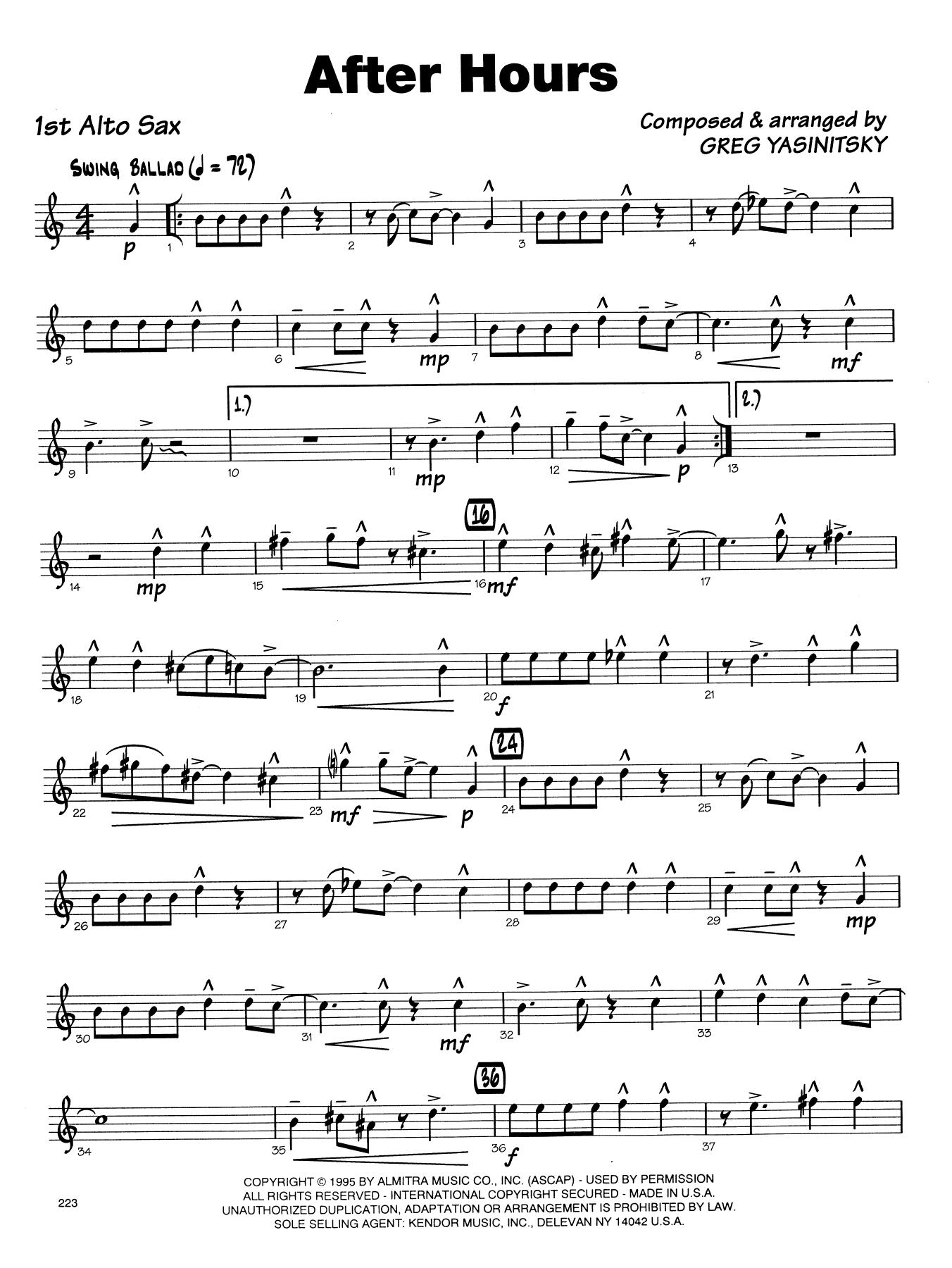 Gregory Yasinitsky After Hours - 1st Eb Alto Saxophone sheet music notes printable PDF score