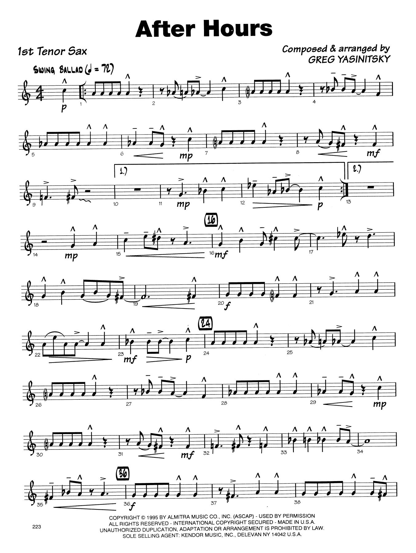 Gregory Yasinitsky After Hours - 1st Tenor Saxophone sheet music notes printable PDF score