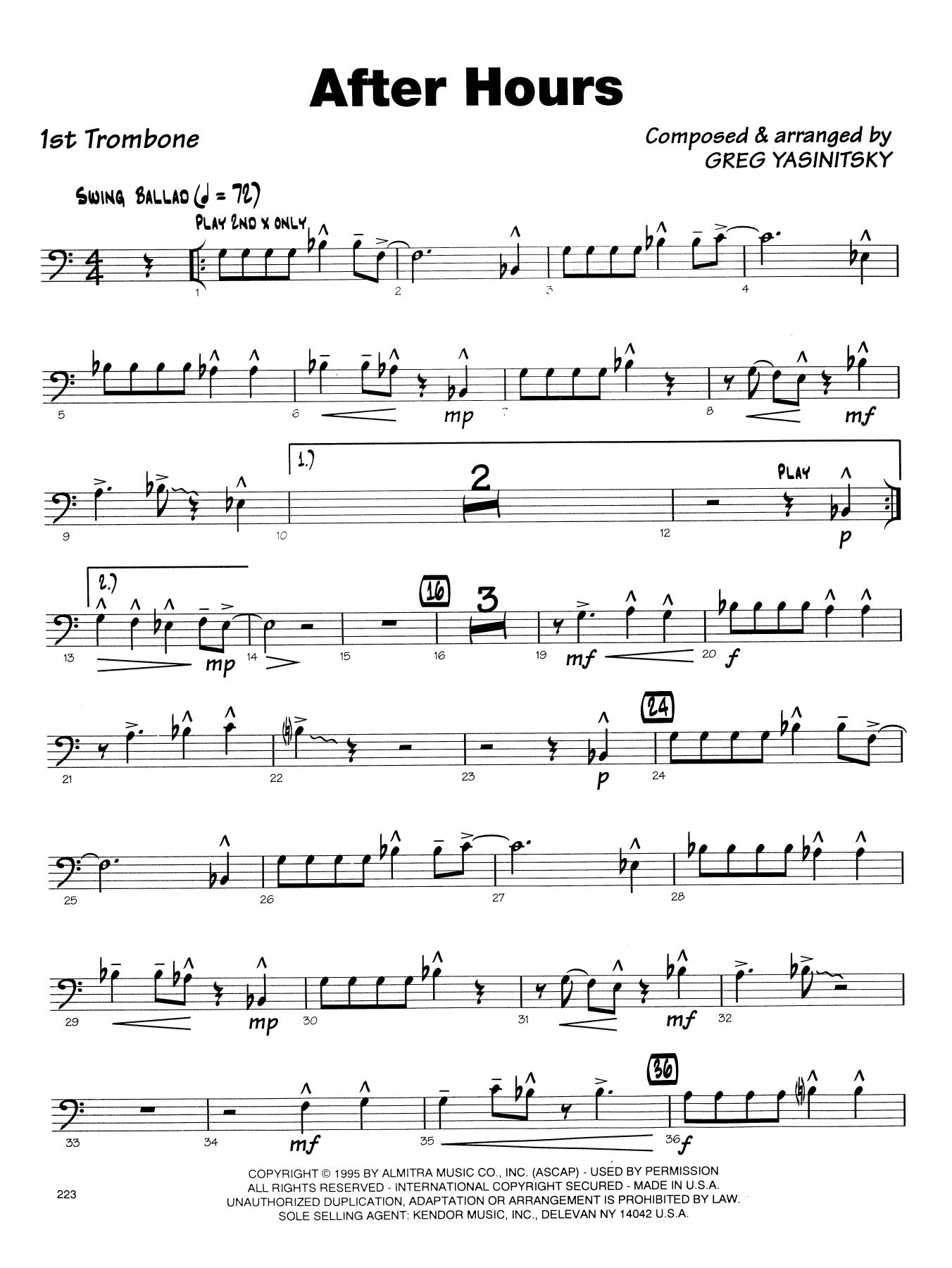 Gregory Yasinitsky After Hours - 1st Trombone sheet music notes printable PDF score