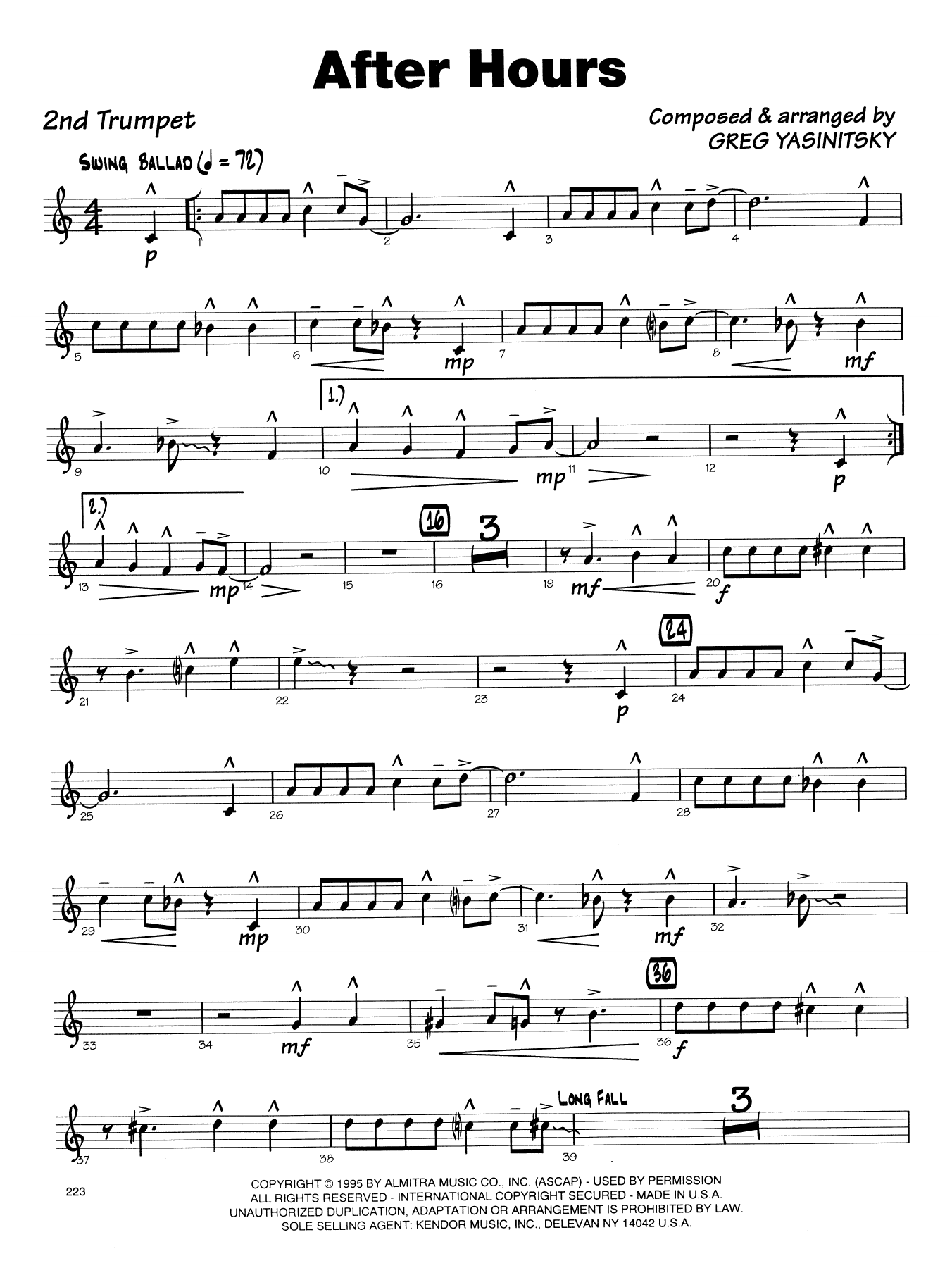 Gregory Yasinitsky After Hours - 2nd Bb Trumpet sheet music notes printable PDF score