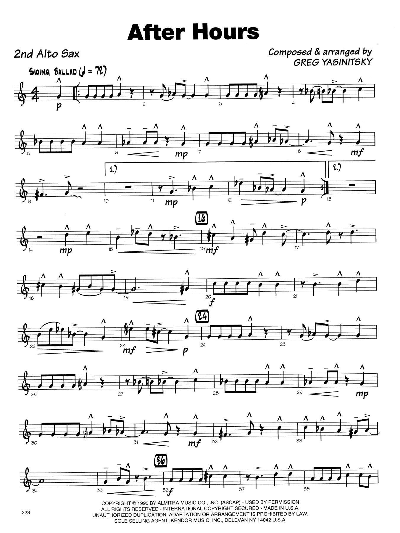 Gregory Yasinitsky After Hours - 2nd Eb Alto Saxophone sheet music notes printable PDF score