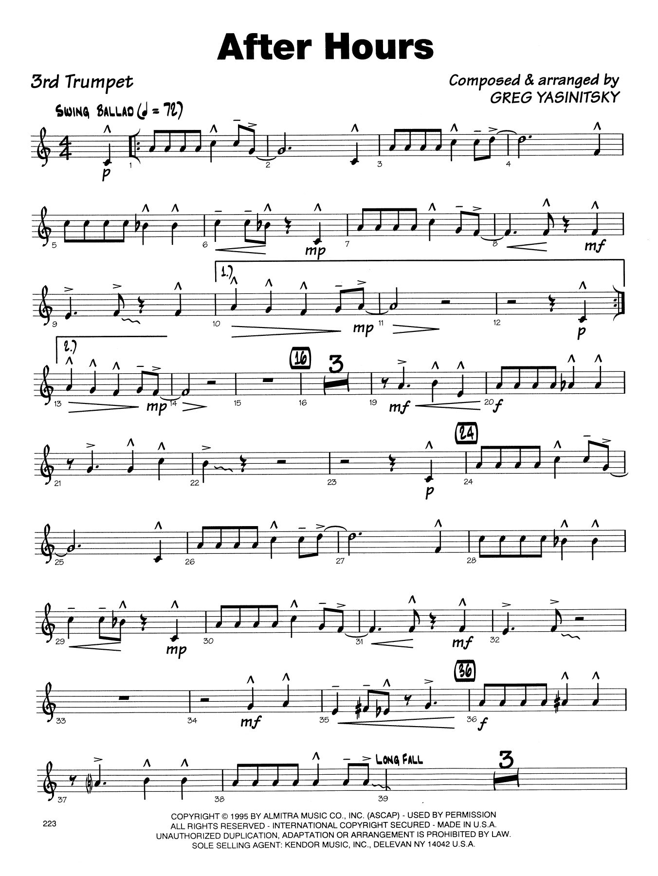 Gregory Yasinitsky After Hours - 3rd Bb Trumpet sheet music notes printable PDF score