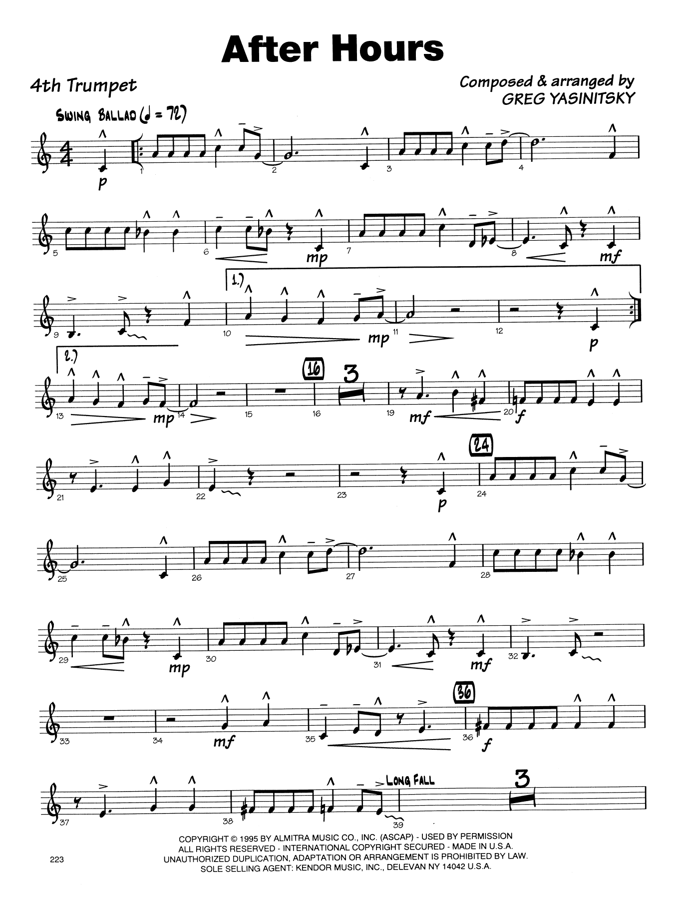 Gregory Yasinitsky After Hours - 4th Bb Trumpet sheet music notes printable PDF score