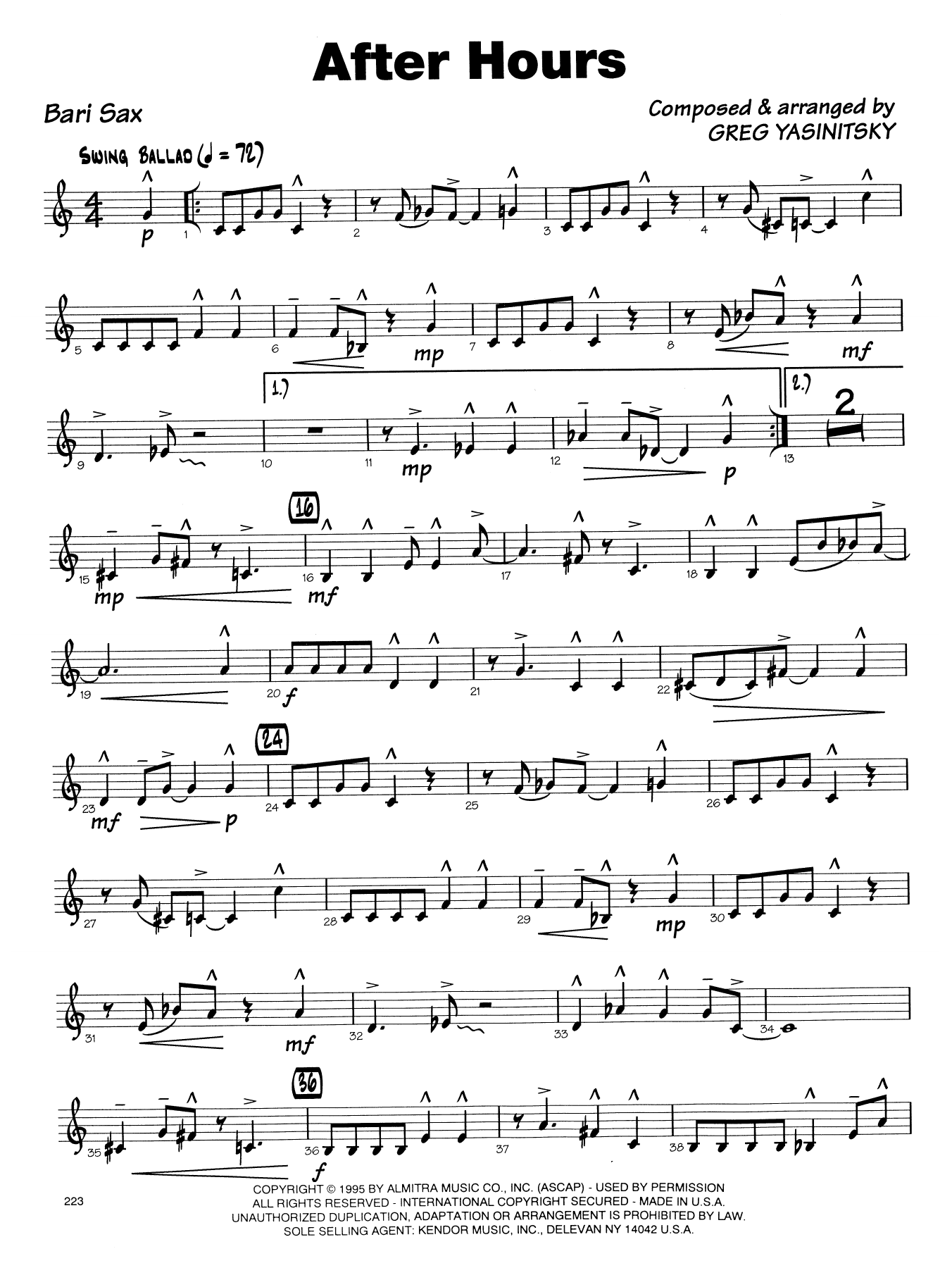 Gregory Yasinitsky After Hours - Eb Baritone Saxophone sheet music notes printable PDF score
