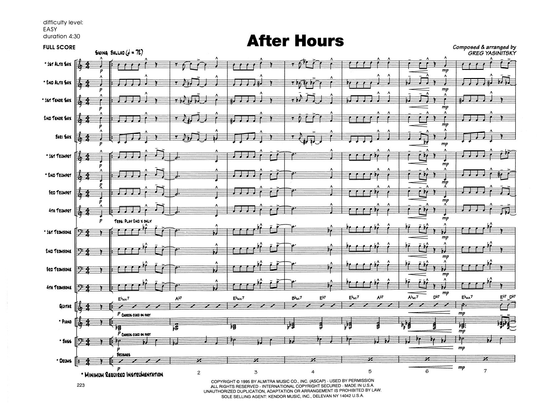 Gregory Yasinitsky After Hours - Full Score sheet music notes printable PDF score