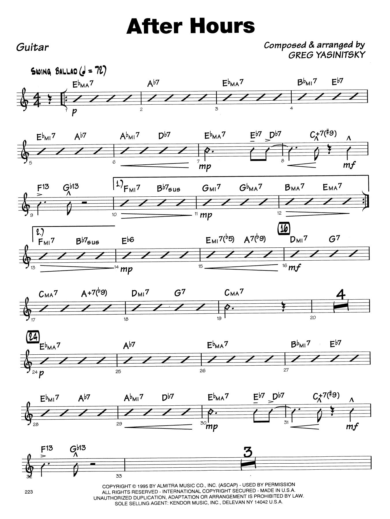 Gregory Yasinitsky After Hours - Guitar sheet music notes printable PDF score