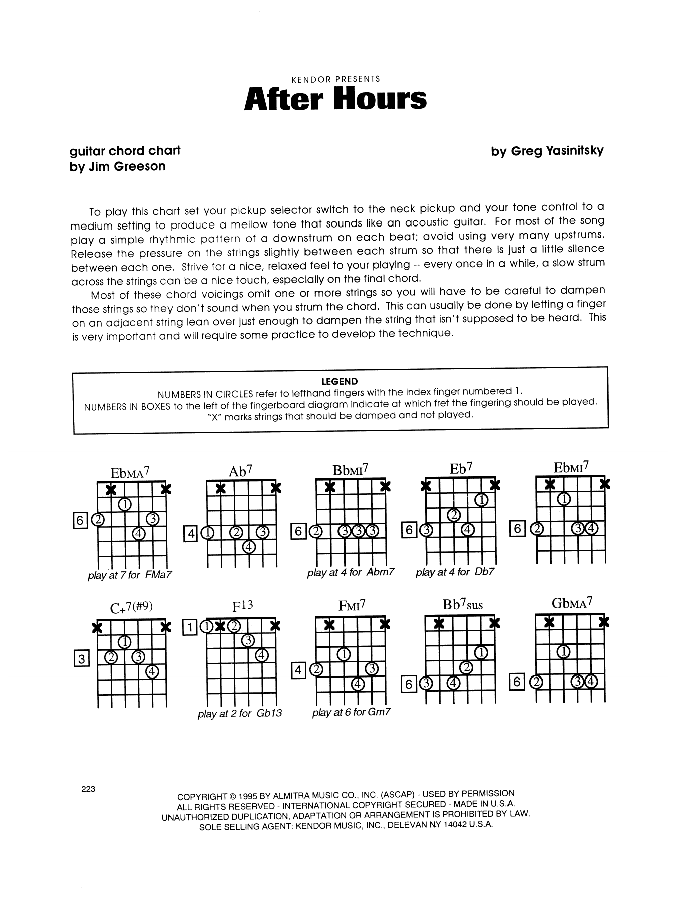 Gregory Yasinitsky After Hours - Guitar Chord Chart sheet music notes printable PDF score