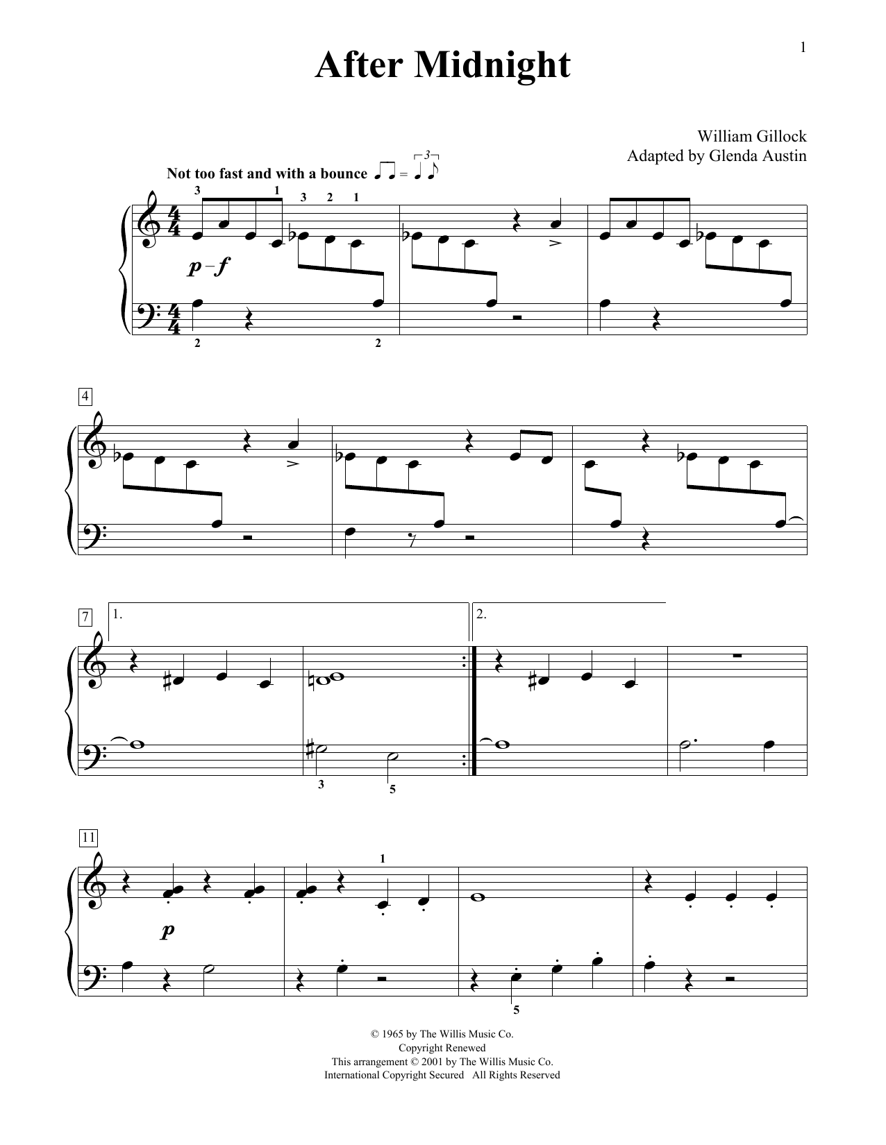 William Gillock After Midnight (Simplified) (adapted by Glenda Austin) sheet music notes printable PDF score