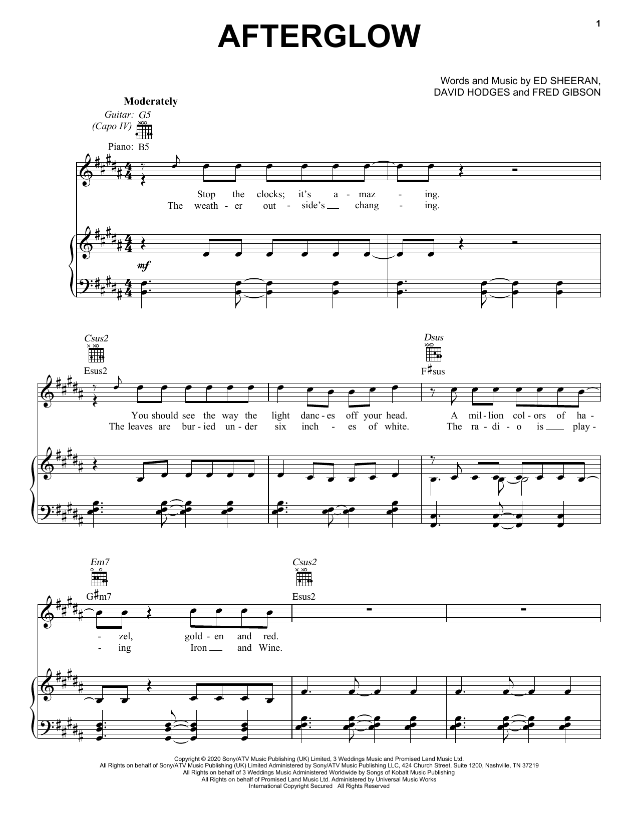 Ed Sheeran Afterglow sheet music notes printable PDF score