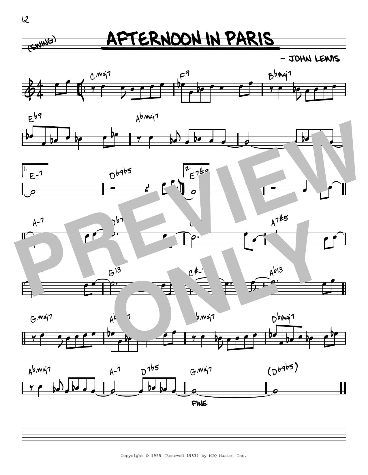 John Lewis Afternoon In Paris [Reharmonized version] (arr. Jack Grassel) sheet music notes printable PDF score