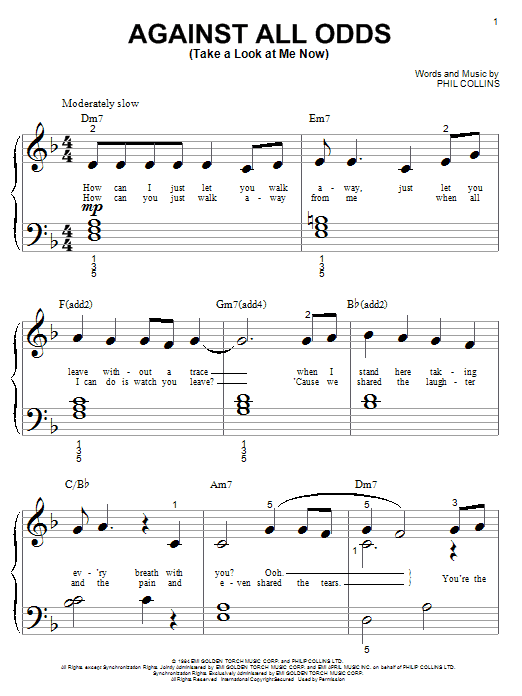 Phil Collins Against All Odds (Take A Look At Me Now) sheet music notes printable PDF score