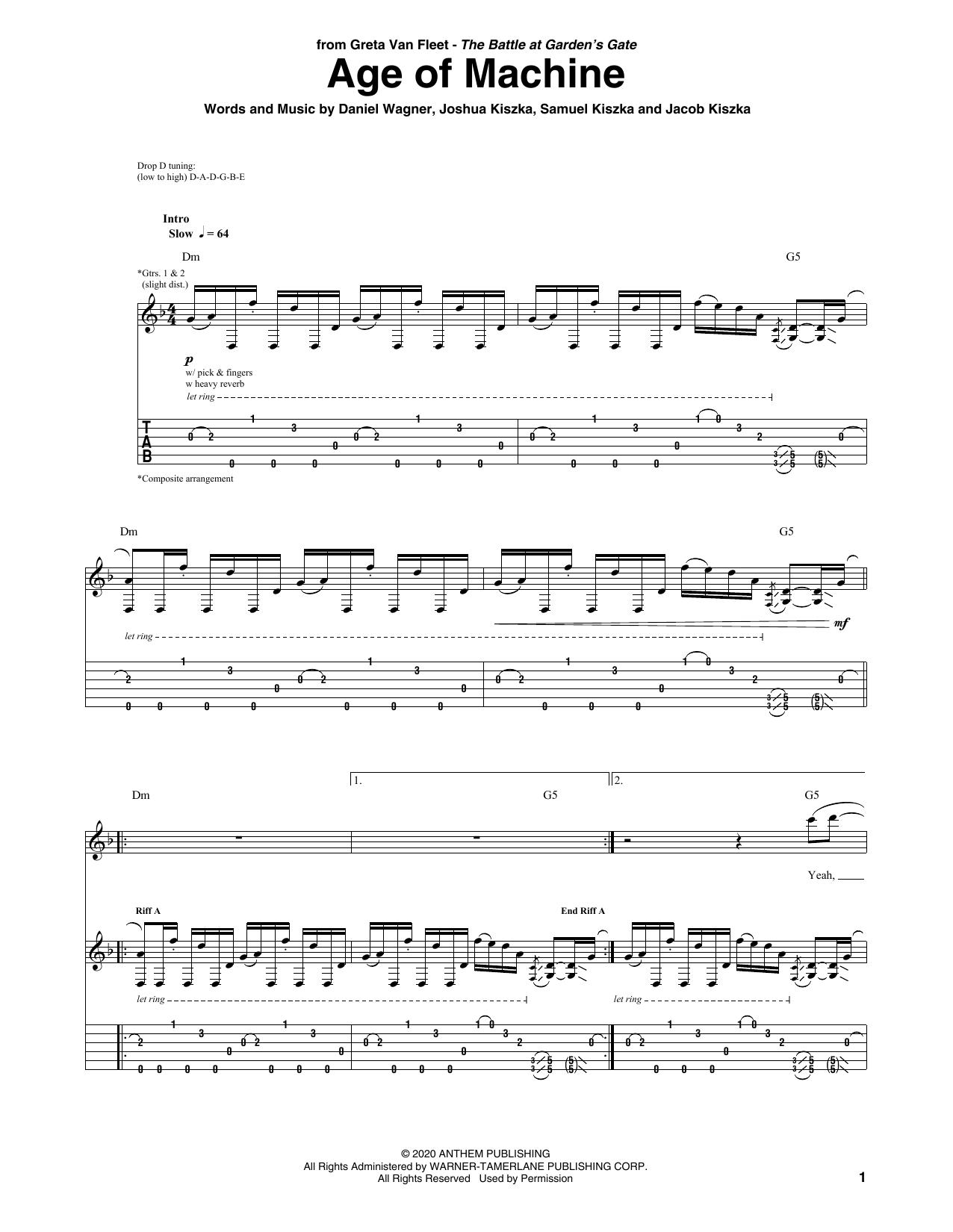 Greta Van Fleet Age Of Machine sheet music notes printable PDF score