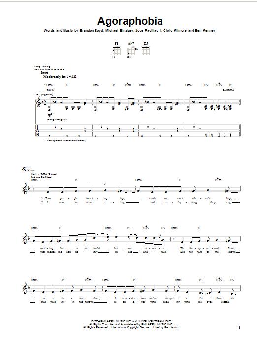 Incubus Agoraphobia sheet music notes printable PDF score