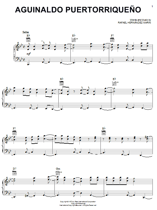 Rafael Hernandez Marin Aguinaldo Puertorriqueno sheet music notes printable PDF score