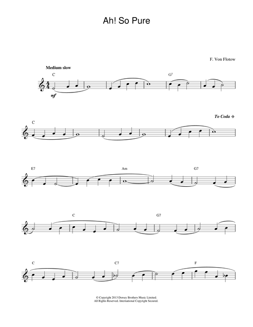 Friedrich von Flotow Ah! So Pure sheet music notes printable PDF score
