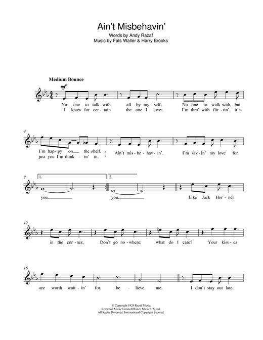 Frank Sinatra Ain't Misbehavin' sheet music notes printable PDF score