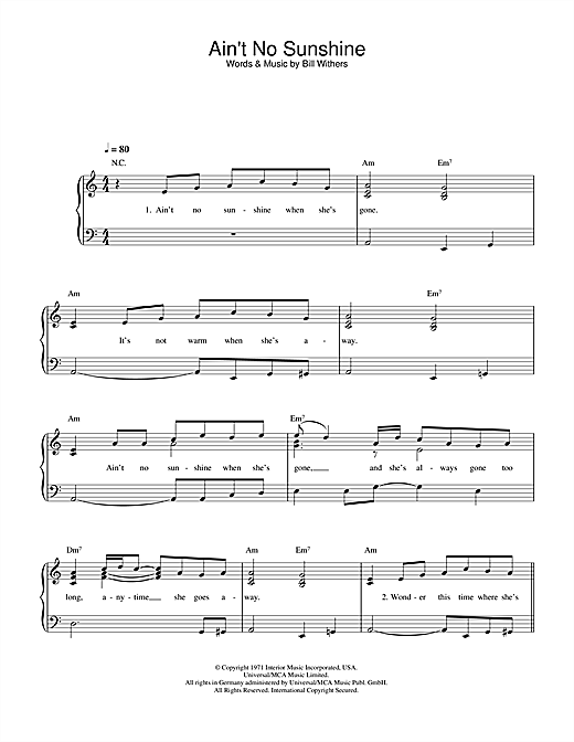 Bill Withers Ain't No Sunshine sheet music notes printable PDF score