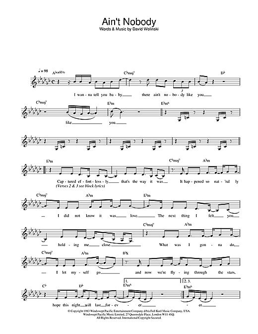 Rufus & Chaka Khan Ain't Nobody sheet music notes printable PDF score