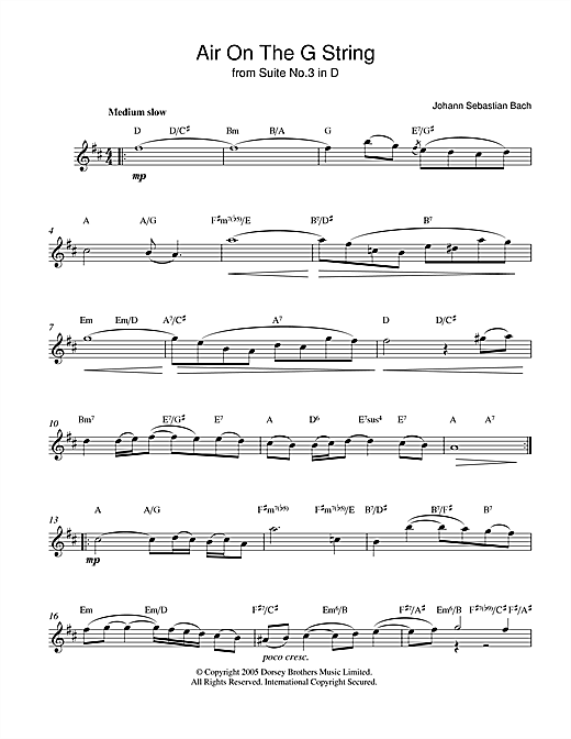 Johann Sebastian Bach Air On The G String (from Suite No.3 in D Major) sheet music notes printable PDF score
