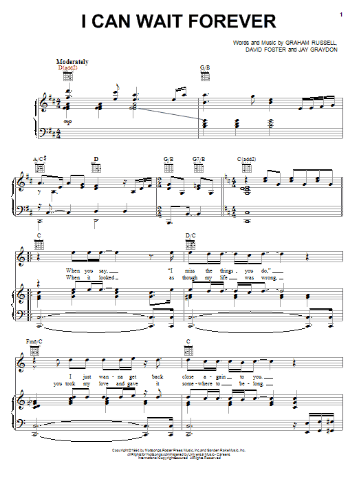 Air Supply I Can Wait Forever sheet music notes and chords. Download Printable PDF.